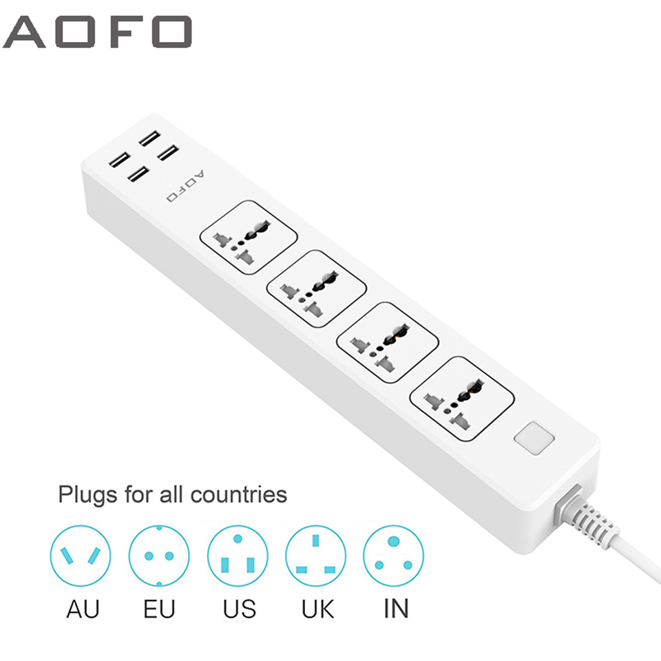AOFO 4-Outlet Universal Power Strip with 4 USB Charging ports Home Office Surge Protector with 5 9ft Extension Cord