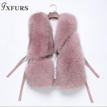 FXFURS Women Real Fox Fur Vest Female Winter Autumn Genuine Fox Fur Waistcoat Coat Fashion Lady Gilet Natural  Fur Vest Women недорого