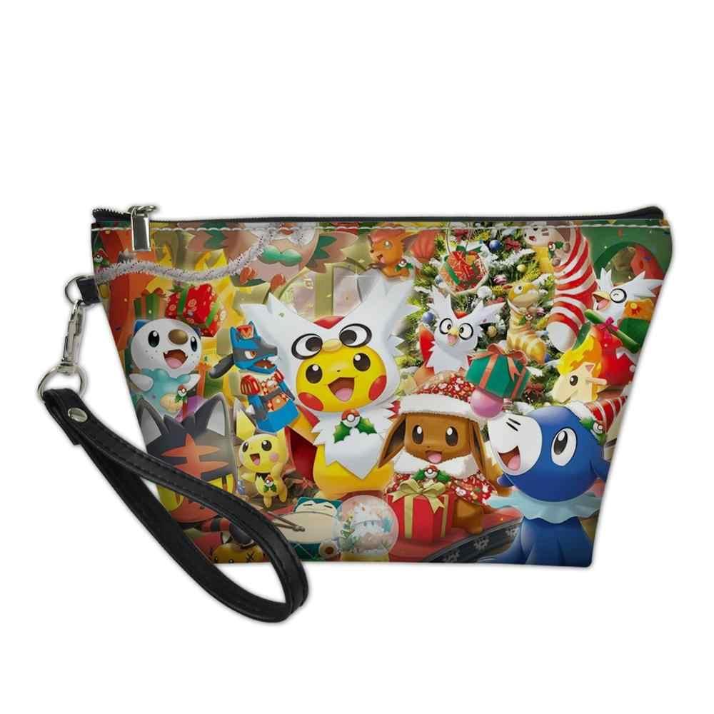 HaoYun Mädchen Kosmetik Tasche Pikachu Pokemon Muster Kosmetikerin Frauen Reise Leder Machen Up Necessaries Kawaii Beutel Toiletry Kit