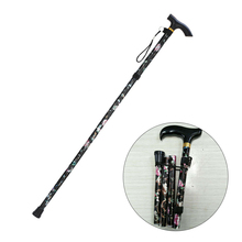Folding Crutches Cane Walking-Stick Adjustable Printed Travel L229 Non-Slip Five-Section
