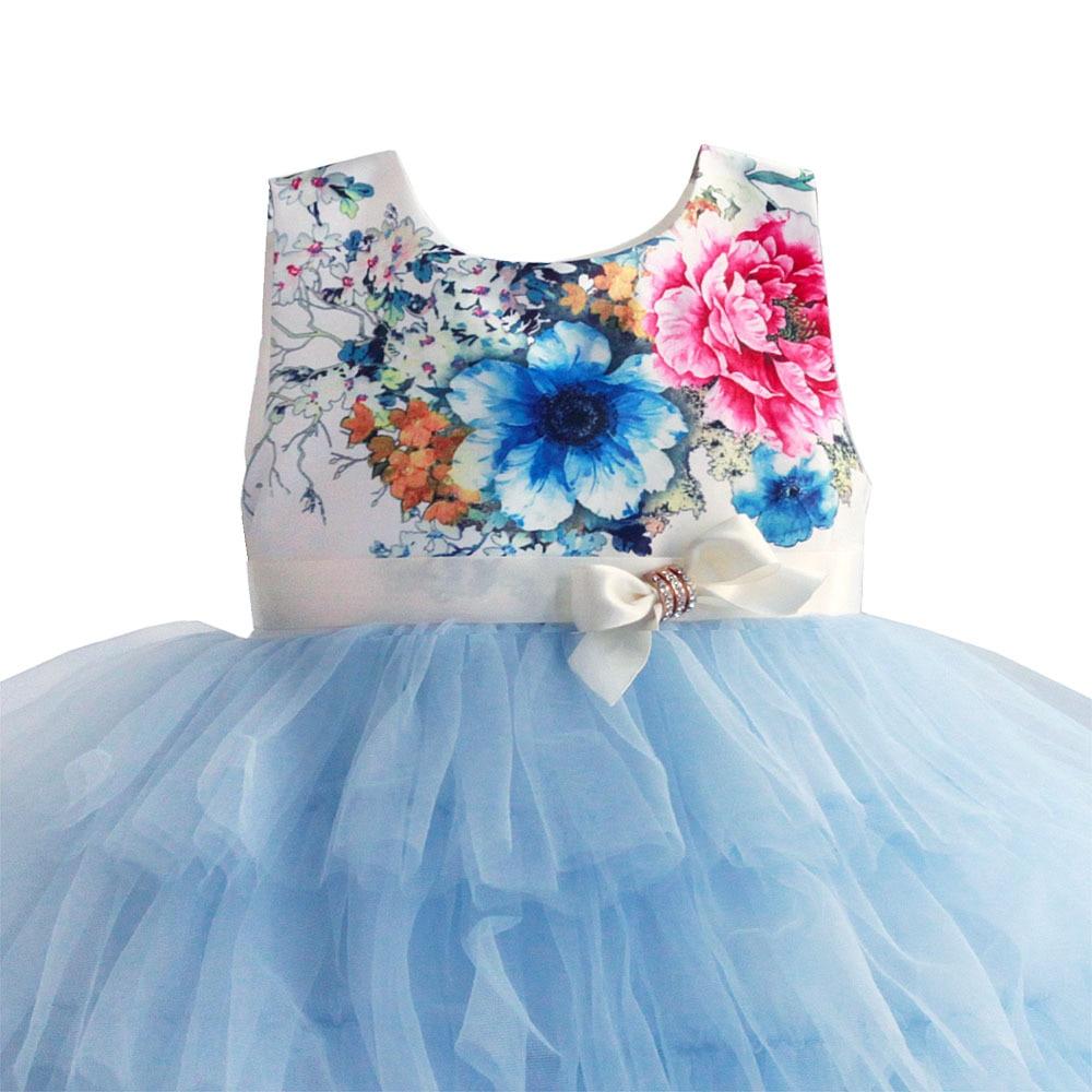 Zoeflower Summer New Style Printed Pure Cotton Cake Princess Dress Children Performance Dress Blue