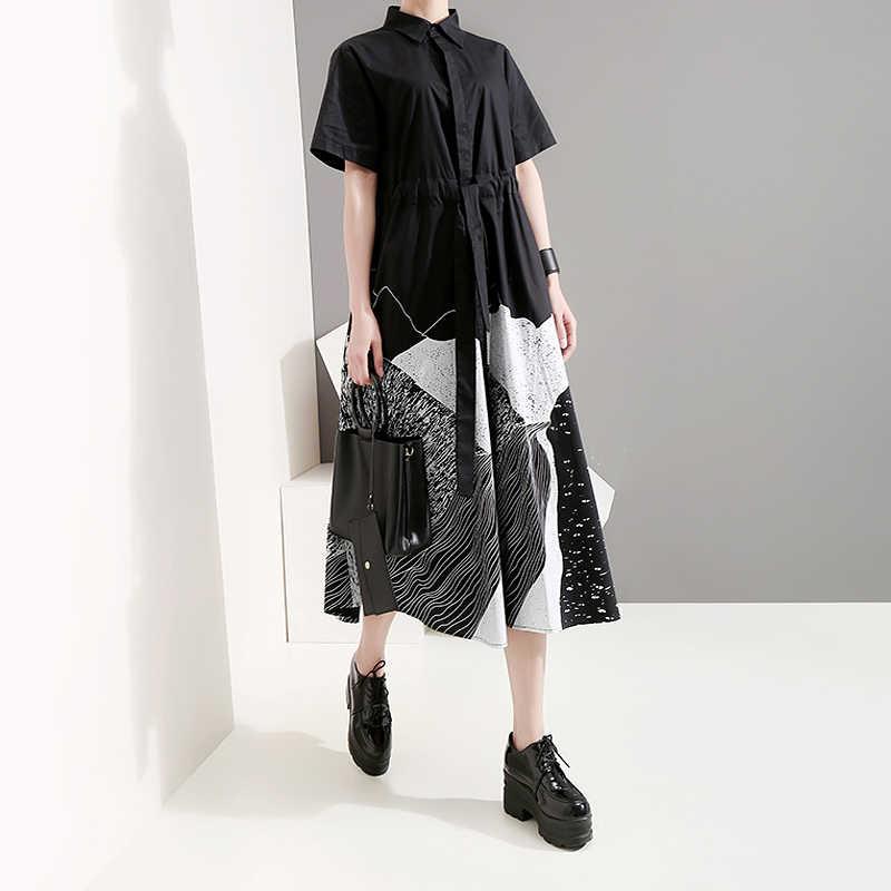 Novo 2020 Estilo Coreano Mulheres Verão Pintura Preta Longa Camisa Vestido Com Faixa de Impressão Tamanho Grande Senhora Vestidos Casuais Retro robe 5128
