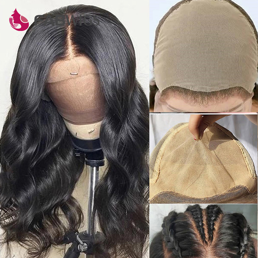 Fabwigs 13x6 Deep Part Fake Scalp Wig Lace Front Human Hair Wigs Invisible Knots Brazlian Body Wave Fake Scalp Human Hair Wigs