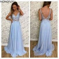 HONGFUYU Chiffon A Line Dress Party Evening Gowns V Neck Sky Blue Formal Dresses Long abendkleider Appliques Lace Prom Dress