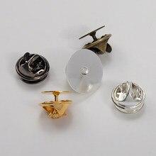 Base de broche papillon en cuivre 50 pièces, 10/15mm, porte-Badge, accessoires pour la fabrication de vêtements