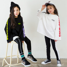 Spring Autumn Teens Girls Sports Set Female Kids Casual T Shirt Suit Children Hip Hop Letter Sleeves Teenagers Tracksuits CA854