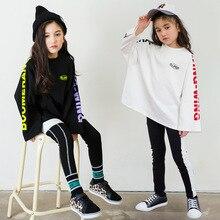 Wiosna jesień nastolatki dziewczyny zestaw sportowy kobiet dzieci dorywczo T strój z koszulką dzieci Hip Hop list rękawy nastolatki dresy CA854