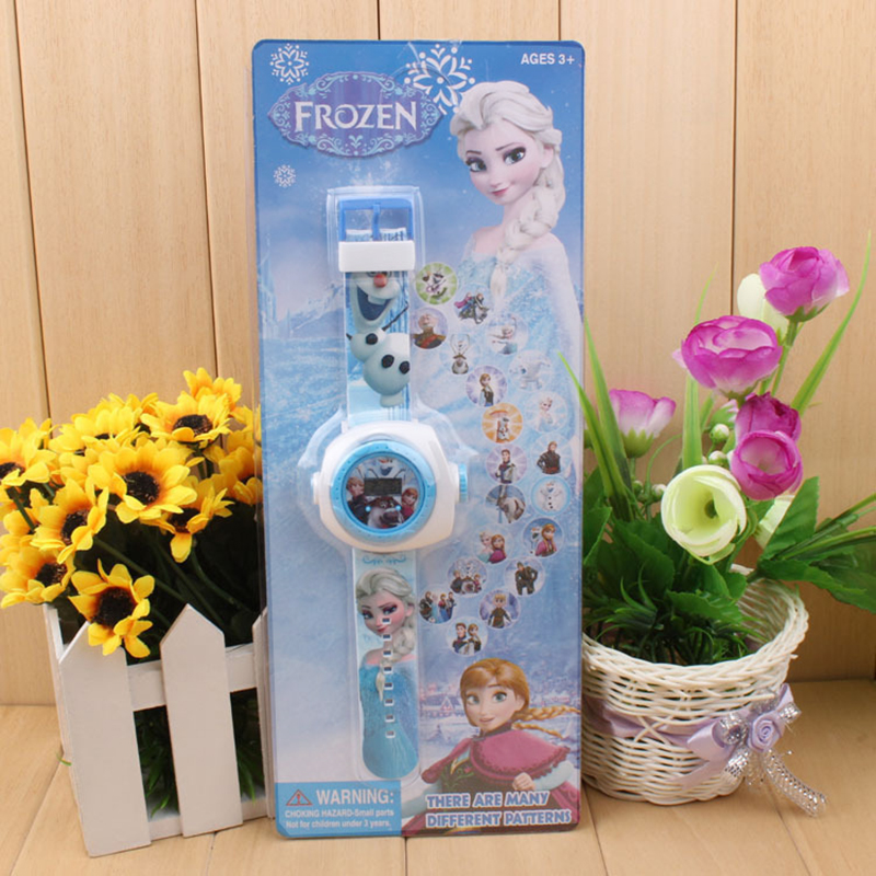 Disney Frozen 2 Doll Toy Story Electronic Watch 3D Projection Table 20 Figure Glowing Children's Birthday Gift