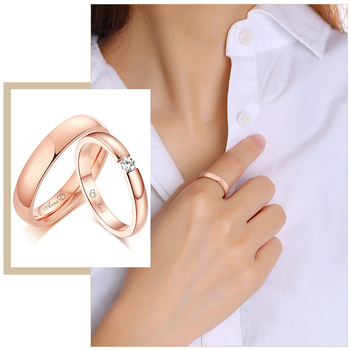 Personalize Engrave Couple Wedding Rings for Women Men 585 Rose Gold Stainless Steel His and Her Promise Love Custom Jewelry womens mens love you forever ecg rings gold color stainless steel wedding engagement promise rings for women men couple jewelry