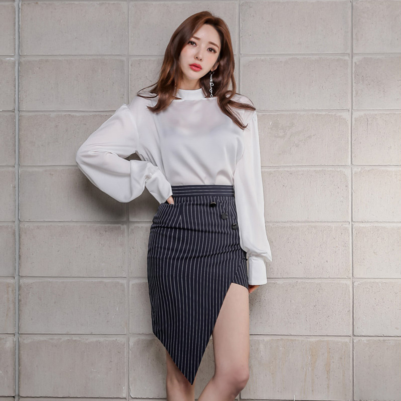 WOMEN'S Dress 2019 Autumn Clothing New Products Ol Career Elegant Loose-Fit Shirt Irregular Skirt Set Sell