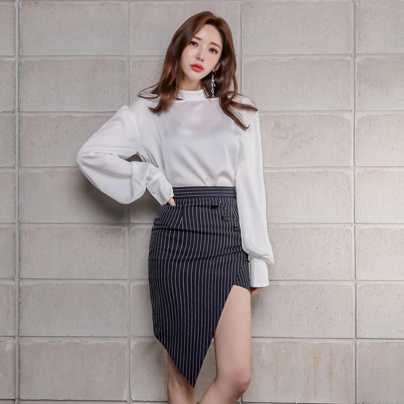 WOMEN'S Dress 2019 Autumn Clothing New Products Ol Career Elegant Loose-Fit Shirt Irregular Skirt Set Sell