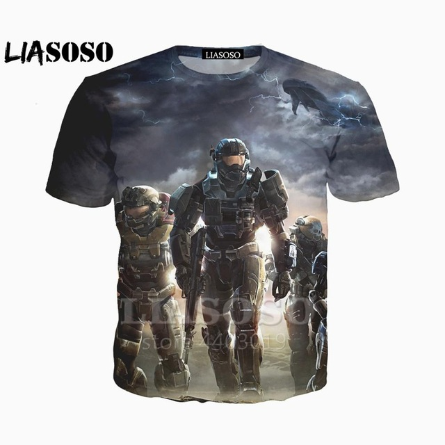 3d print Game Halo UNSC T Shirt Halo Master Chief trousers Men Women hip hop t-shirt anime Wars Game t shirts Wholesale Shirt image