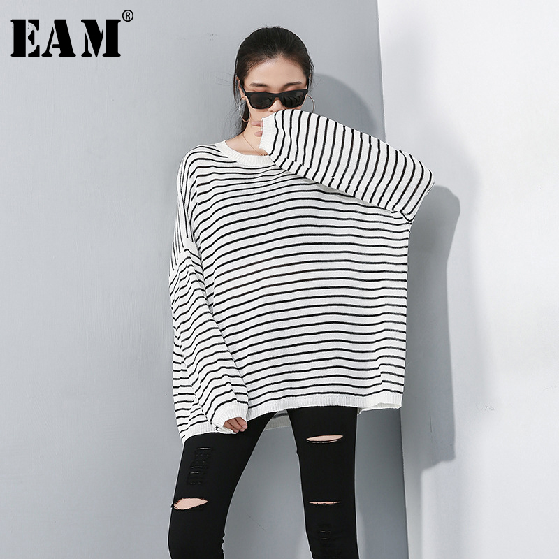 [EAM] Striped Mixed Color Oversize Knitting Sweater Loose Fit Round Neck Long Sleeve Women New Fashion Autumn Winter 2019 1D070