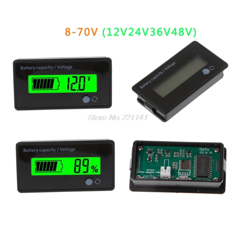 8-70V LCD Acid Lead Lithium Battery Capacity Indicator Voltage Tester Voltmeter Dropship