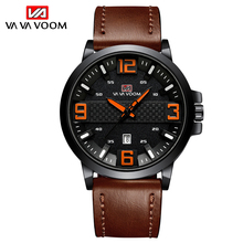 VAVA VOOM Mens Watches Top Brand Luxury Quartz Men's Watch PU Leather Strap Watch Men Fashions Casual Wristwatch Male Clock Boys топ voom