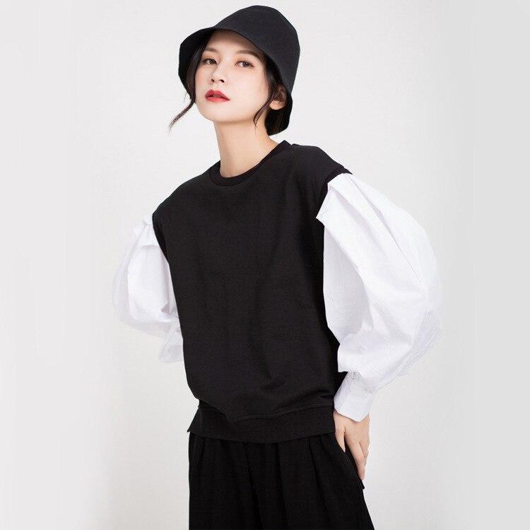 TVVOVVIN 2019 automne vêtements femme blanc lanterne chemise à manches longues Patchwork col rond pull à capuche femme L069 - 3