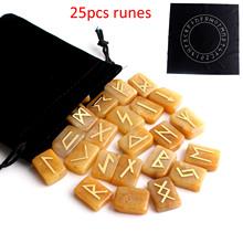 25 sztuk naturalna metalowa naklejka Symbol żółty jade kryształ runy runy żółty kamień wróżbiarstwo wróżbiarstwo kolekcja uzdrawiająca tanie tanio CN (pochodzenie) FAIRY FENG SHUI