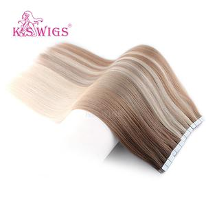 Hair-Extensions Human-Hair Tape-In Double-Drawn Skin-Weft Seamless Remy K.S Straight