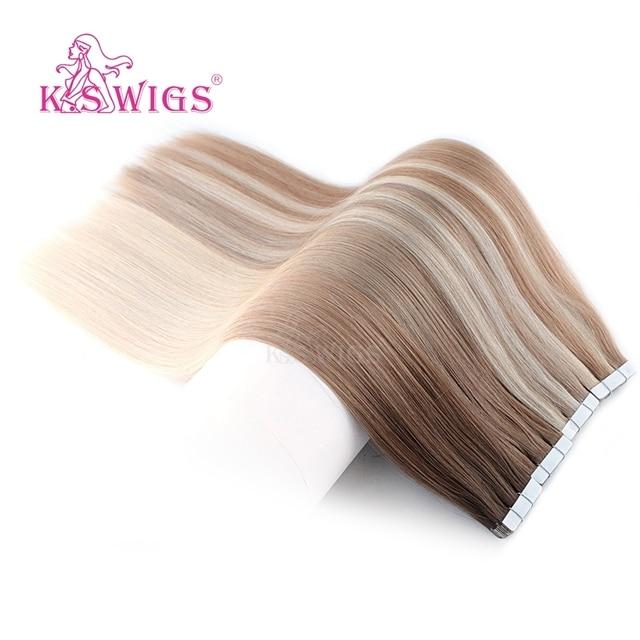 K.S парики Remy лента из человеческих волос, двойные нарисованные прямые Бесшовные волосы для наращивания кожи 16 20 24 10 шт./упак.