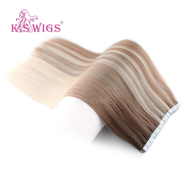 KS פאות רמי קלטת שיער טבעי זוגי Drawn ישר עור הערב שיער הרחבות 16 20 24 10 יח\אריזה