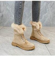 SWYIVY Martin รองเท้าผู้หญิงกระต่ายขนสัตว์ WARM Plush 2019 ฤดูหนาวใหม่หญิงรองเท้าลำลองของแท้รองเท้าหนังรองเท้าบูทสูง TOP