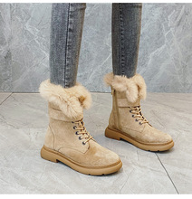 Swyivy マーティンのブーツの靴女性のウサギの毛皮暖かいぬいぐるみ 2019 冬の新女性の靴カジュアル本革雪のブーツ高トップ