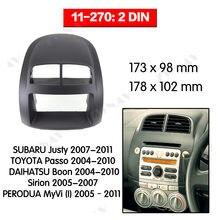 Rádio facia para subaru justy/toyota passo/daihatsu boon/sirion, suporte dvd player, estéreo, rádio traço de instalação
