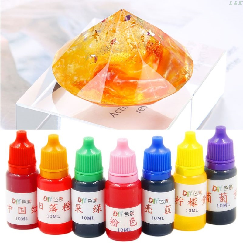 7 Pcs/set 10ml Food Grade Dyeing Pigment Slime Crystal Mud Colorant Epoxy Crystal DIY Hand-Made Jewelry Accessories PXPC