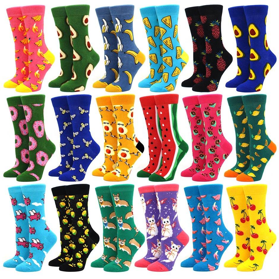 Heißer Verkauf Bunte frauen Baumwolle Crew Socken Lustige Banane Katze Tier obst Muster Kreative Damen Neuheit Cartoon Socke Für geschenke