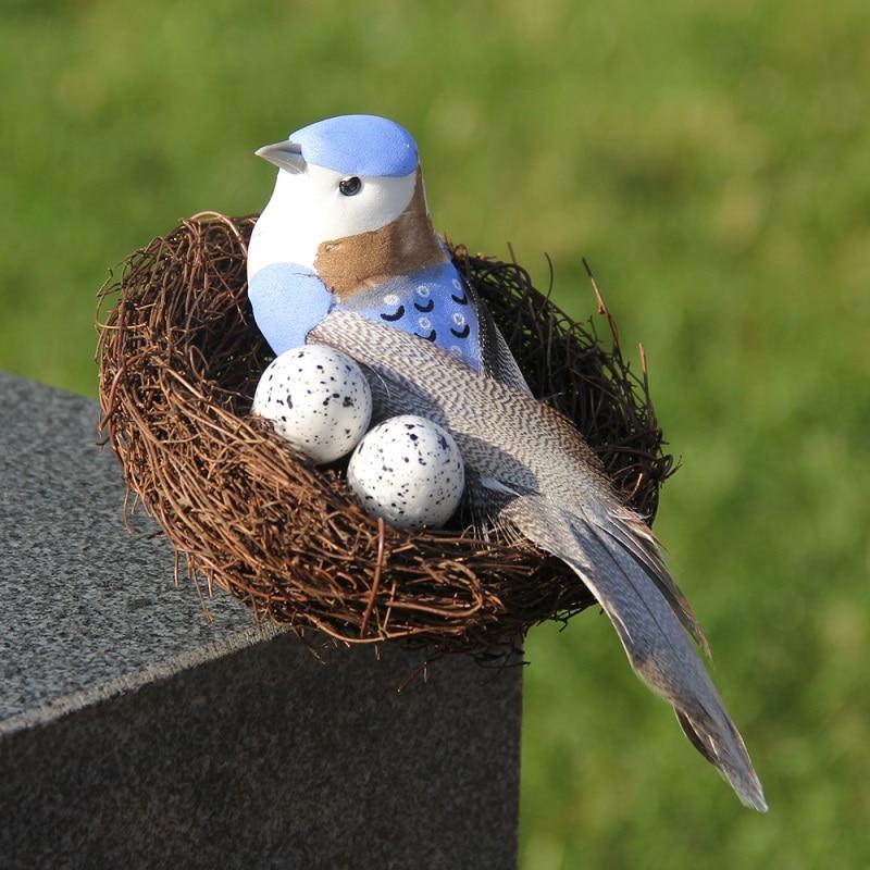Artificial Rattan Bird Nest Simulation Eggs Garden Yard Props DIY Ornaments Party Decor Handmade Birdhouse Birdcage Easter Craft