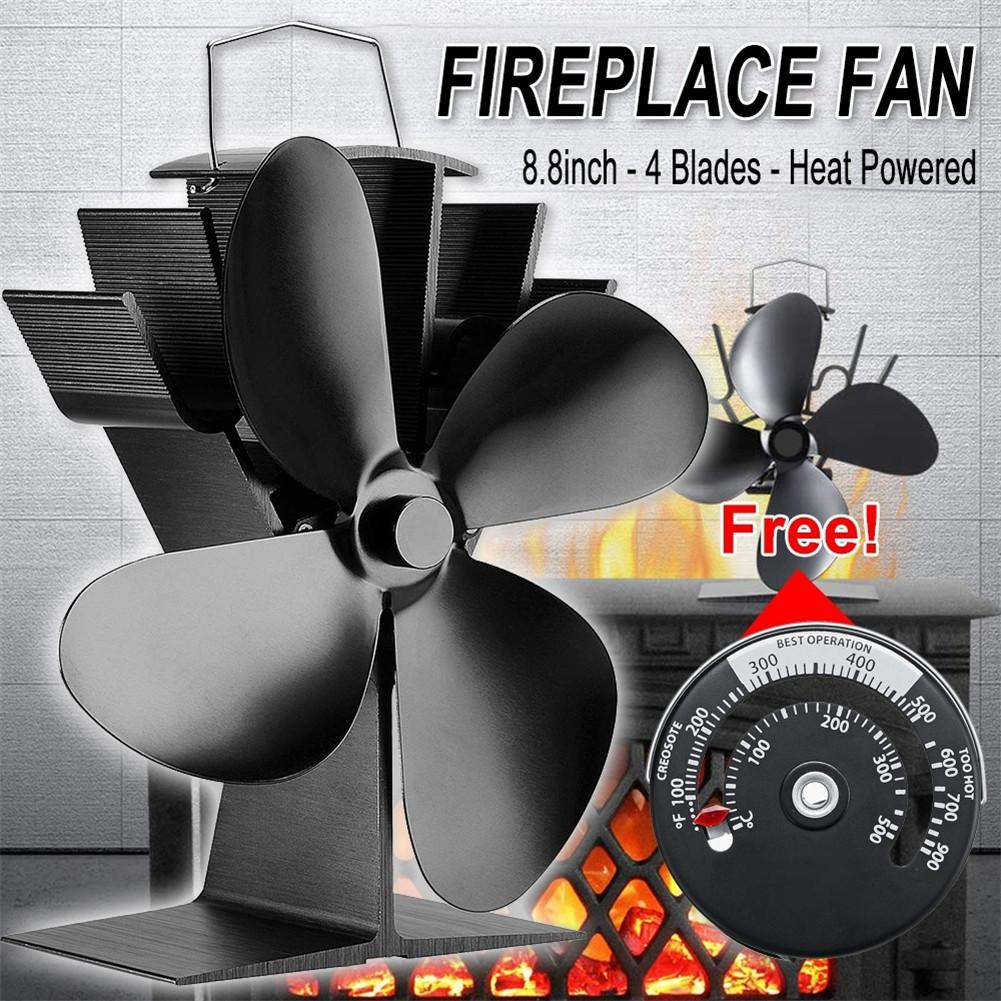 4 Blade Black Stove Fan Fireplace Fan Heat Powered Wood Burner Eco Fan Quiet Home Efficient Heat Distribution+Stove Thermometer