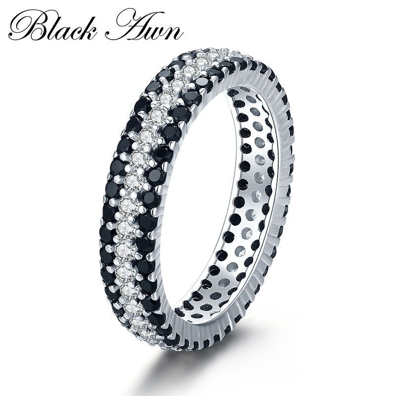 Classic 3.2g 925 Sterling Silver Fine Jewelry Bague Round Black Spinel Engagement Rings For Women Bijoux Femme C443