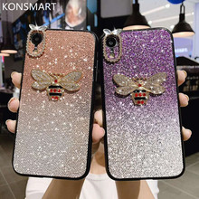 New Case For iPhone 6 6S 7 8 Plus Luxury Diamond Glitter bee Silicone Phone X XR XS MAX Cover Fundas KONMART