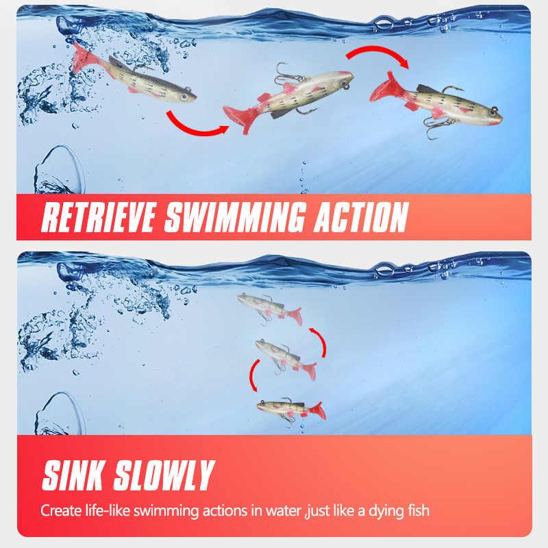 Oddfiser 1 pc 8/9 センチメートル 12.2/9.2 グラムのシリコーン魚ルアーソフト餌リードヘッド治具 wobblers スイムベイト低音シャッドためトレブルフック