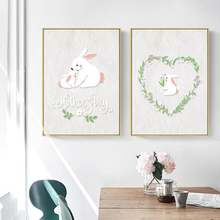 Милый белый кролик венок на День Благодарения матери скандинавский