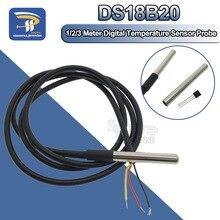 1 м/2 м/3 м DS18B20 посылка из нержавеющей стали водонепроницаемый 1 м датчик температуры датчик 18b20 для Arduino Diy Kit