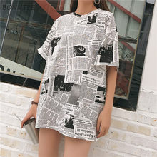 T-shirts manches courtes pour femmes, imprimé de journaux, Style chauve-souris, tout-assorti, tendance, Chic, loisirs, doux