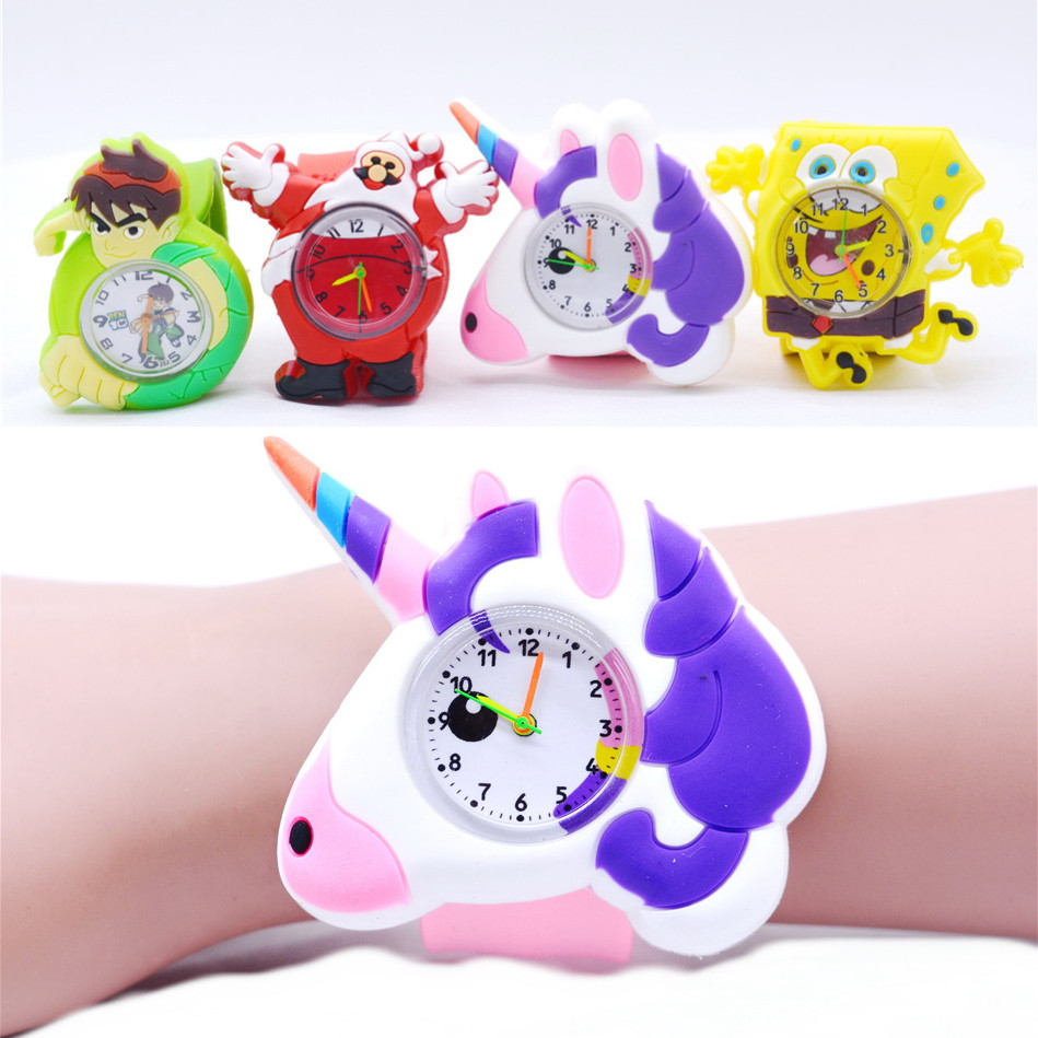 Cute Unicorn Watches For Children Girls Boys Kids Animal Watch Rubber Slap Plastic Wristwatch Regalos Originales