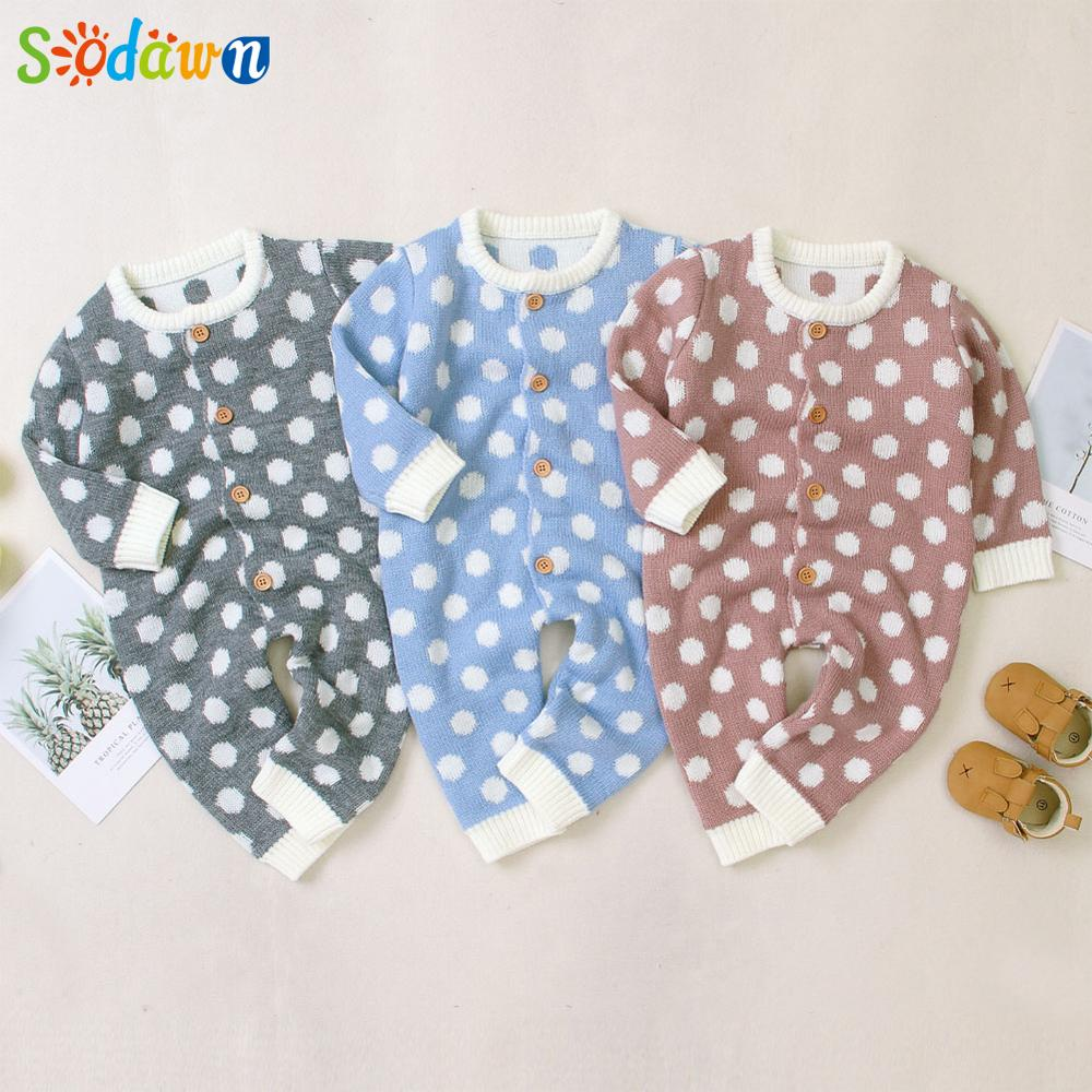 Sodawn New Baby Clothing Autumn Winter Baby Girl Boy Knitted Romper Dot Print Jumpsuit Overall Sweater Warm Clothes