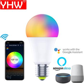 Żarówka LED YHW inteligentna żarówka WiFi ze zmianą koloru praca z Google Home Alexa A19 E27 E26 1 opakowanie kolorowe światło żarówki tanie i dobre opinie CN (pochodzenie) ROHS 2700K ~ 6500K ZLJ-DP-7W-WF-RGBWW-1P SALON 110-260v 500-999 lumenów Globe 20000 Żarówki LED 3 lat