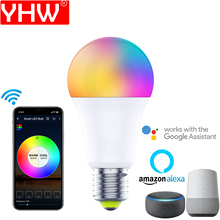 YHW LED Bulb, WiFi Smart Light Bulb with Color Changing, Work with Google Home Alexa, A19 E27 E26, 1 Pack Colored Light Bulb
