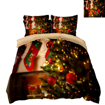 Christmas Bedding Duvet Cover set Green Christmas Tree Pattern Double Bedding set for Room 3pcs Bed Comforter sets Home Textile
