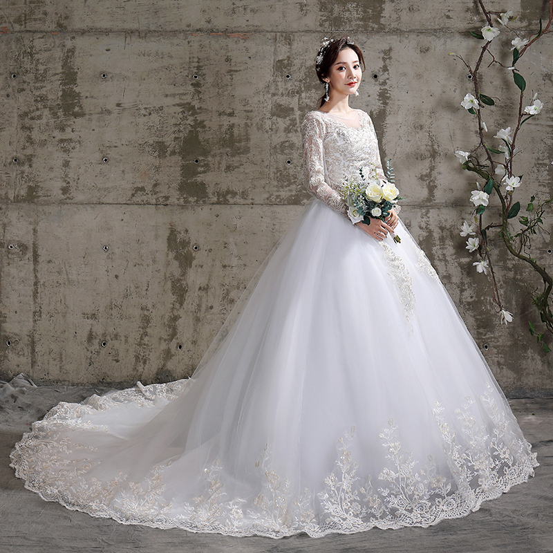 Luxury  Train Wedding Dress 2020 Bridal New Lace Up Dress Dreamy Full-seelve Ball Gowns Plus Size Tailing Wedding Dressses