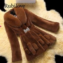 Rubilove 6XL Large Size Womens Fashionable Fur Coat 2019 Winter New Women Artificial Fox Long Section Leisure Mink