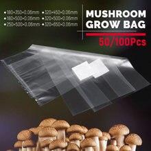 100 adet polipropilen Spawn çanta büyümek 18*35cm için uygun mantar mantar tahıl yüzey yüksek sıcaklık ön yapışmalı bahçe kaynağı