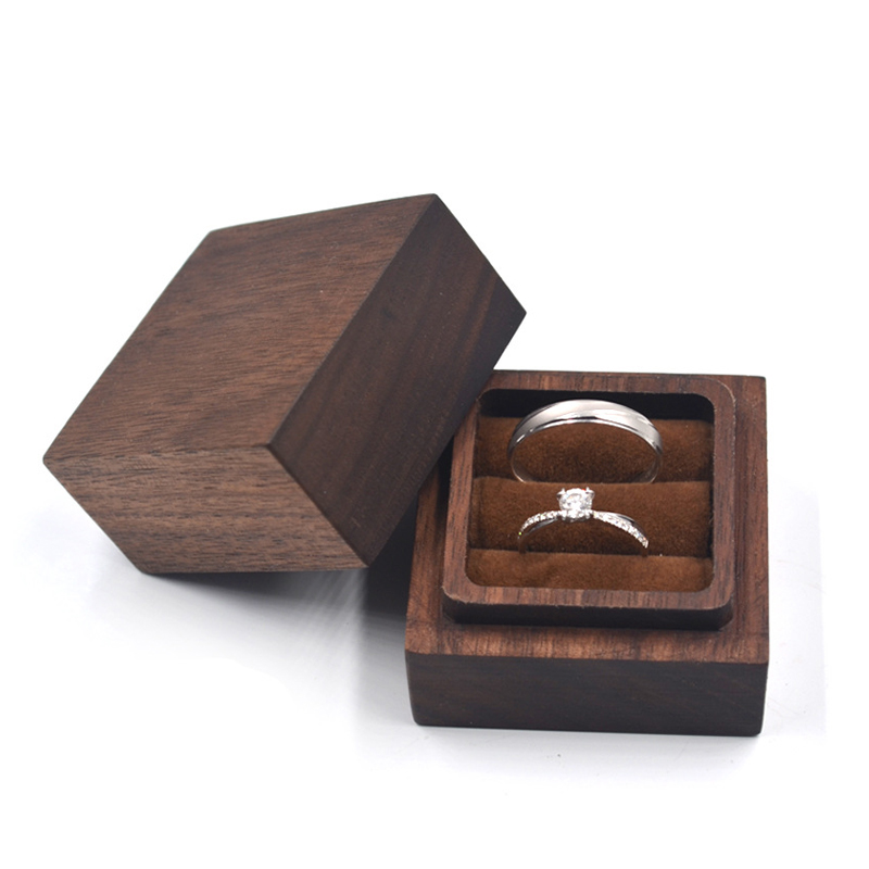 Exquisite Real Walnut Wood Wedding Double Ring Earrings Jewelry Display Valentine's Gift Box