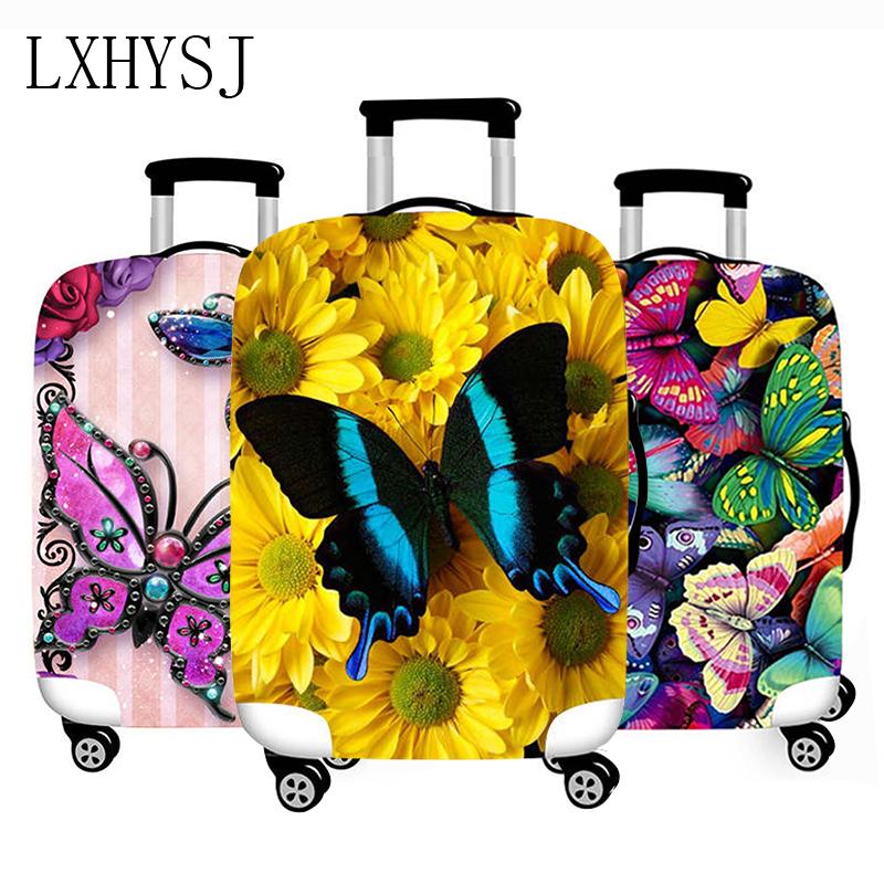 Butterfly Pattern Luggage Cover Thicken Suitcase Protective Covers Elasticity Suitcase Case 18-32 Inch Luggage Protective Covers