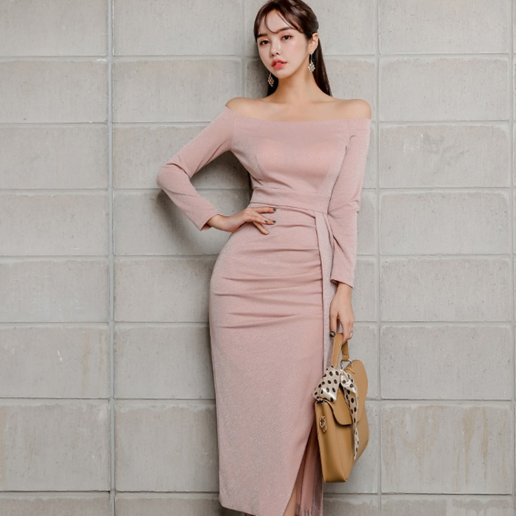 2019 Autumn And Winter New Style Debutante-Horizontal Neck Off-Shoulder Long Sleeve Slim Fit Formal Dress Mid-length Slit Dress