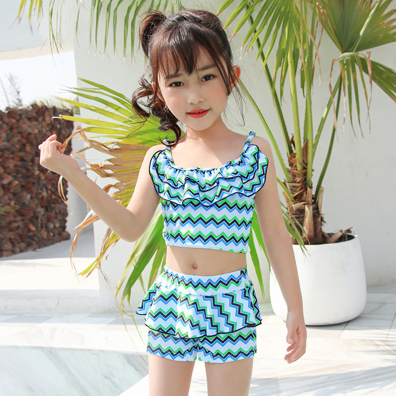 2019 New Style Hot Sales KID'S Swimwear Stripes Flounced Boxer Split Skirt-Hipster Sweet GIRL'S Swimsuit