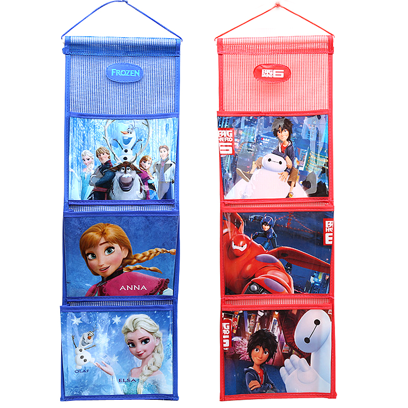New Cartoon Elsa Anna Princess Hanging Organizers Pockets Travel Wash Bag Lovely Baymax Students Wall Door Hanging Storage Bags